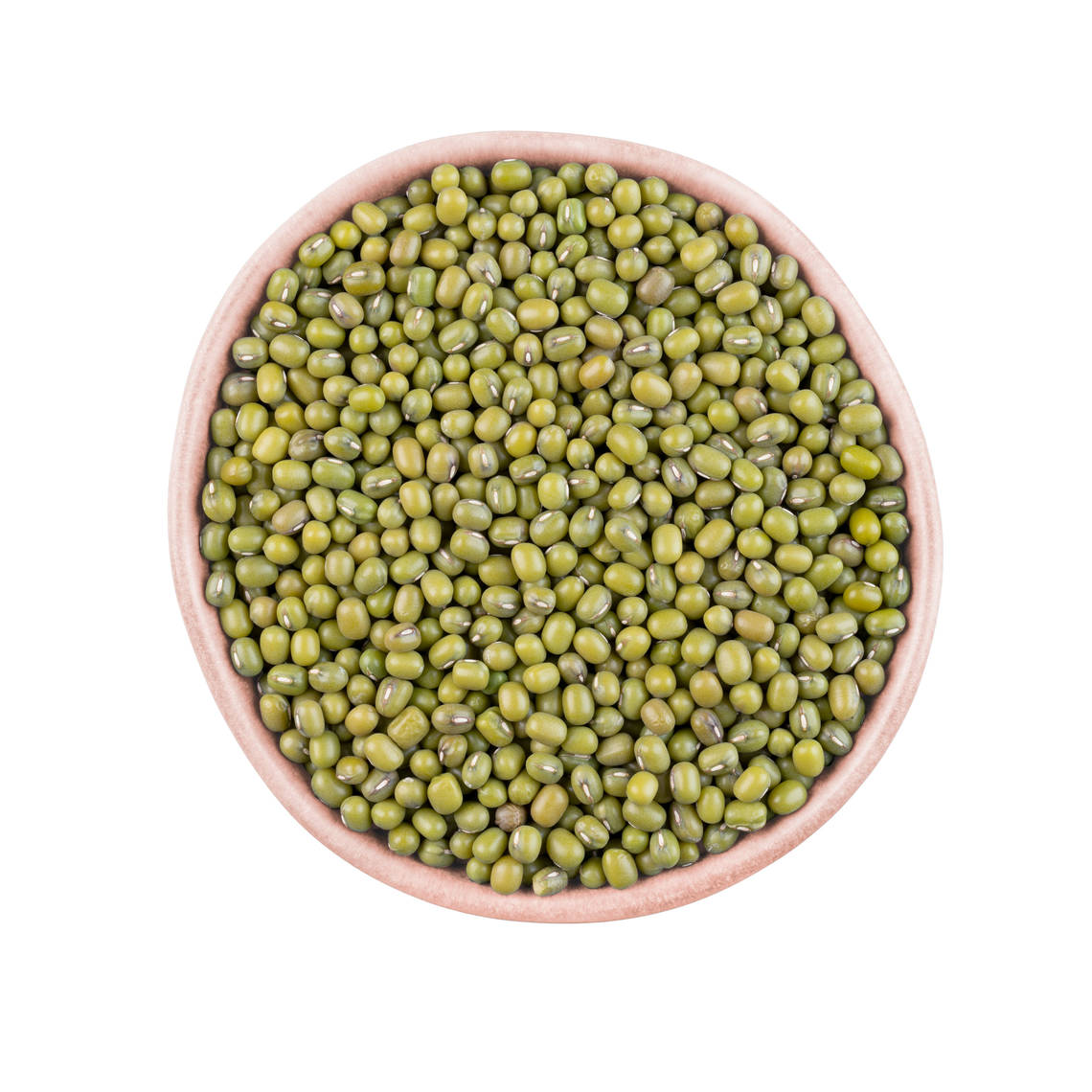 Mung beans, also referred to as moong beans or green grams or golden grams, are round shaped green beans, light-yellow on the inside.